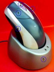 Un modelo inalámbrico con rueda y cuatro botones, y la base receptora de la señal
